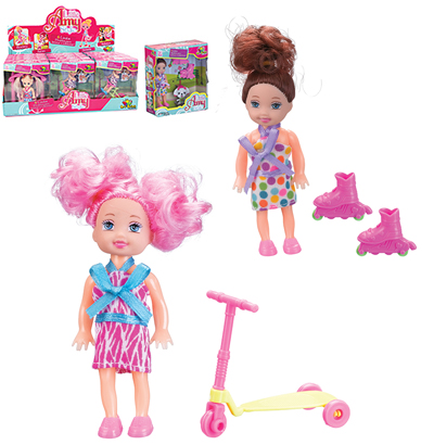BONECA AMY LITTLE STYLE COM PATINS/PATINETE SORTIDAS