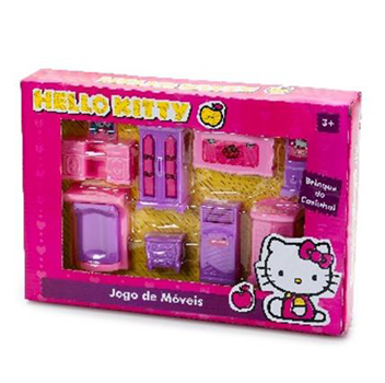 KIT MOVEIS INFANTIL HELLO KITTY COM 8 PECAS A:30XL:21CM