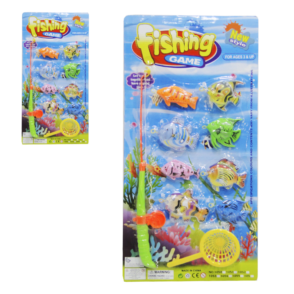 VARINHA PEGA PEIXE COM PASSAGUA + 8 PECAS FISHING GAME COLORS NA CARTELA