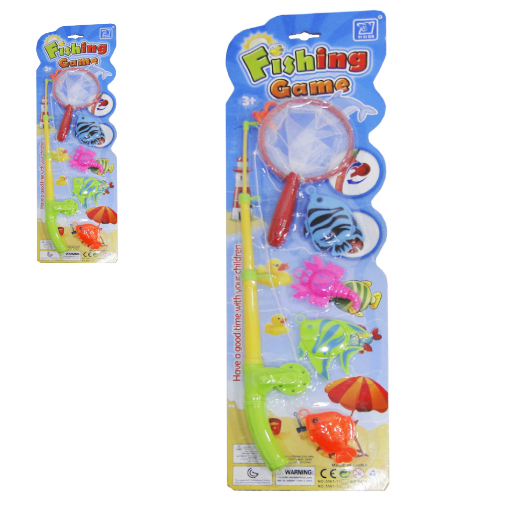 VARINHA PEGA PEIXE COM PASSAGUA + 4 PECAS FISHING GAME COLORS NA CARTELA