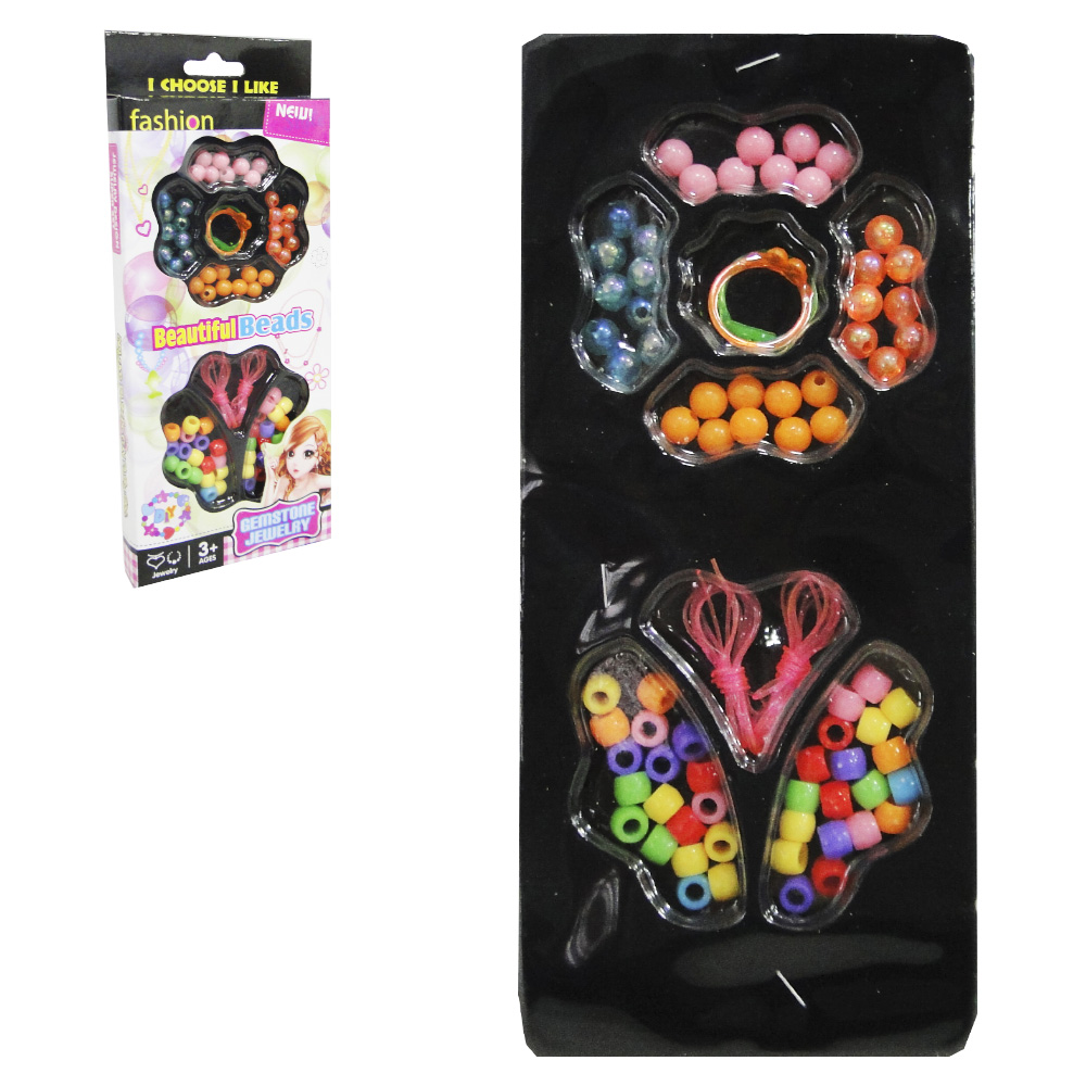 KIT BELEZA / BIJUTERIA INFANTIL COM 70 MICANGAS COLORS BEAUTIFUL BEADS NA CAIXA