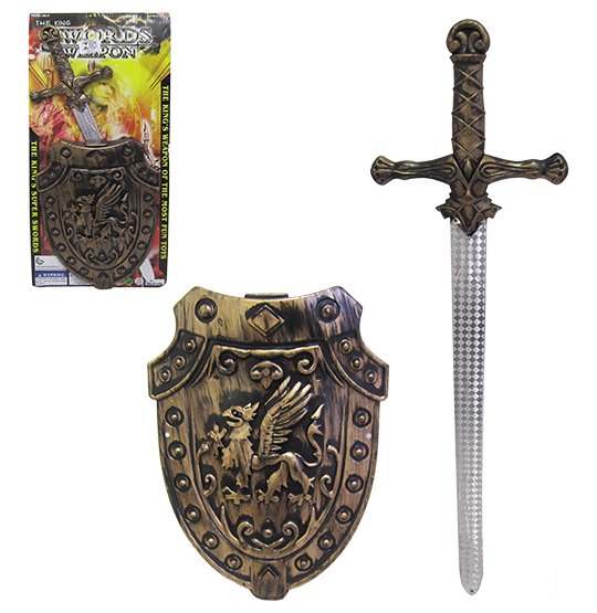 KIT MEDIEVAL COM ESPADA + ESCUDO SWORDS WEAPON NA CARTELA