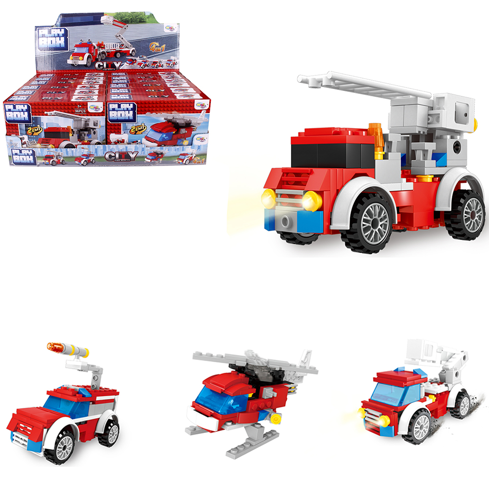 BLOCOS DE MONTAR PLAY BOX CITY FIRE RESCUE 2 EM 1 SORTIDOS NA CAIXA TLEG WELLKIDS