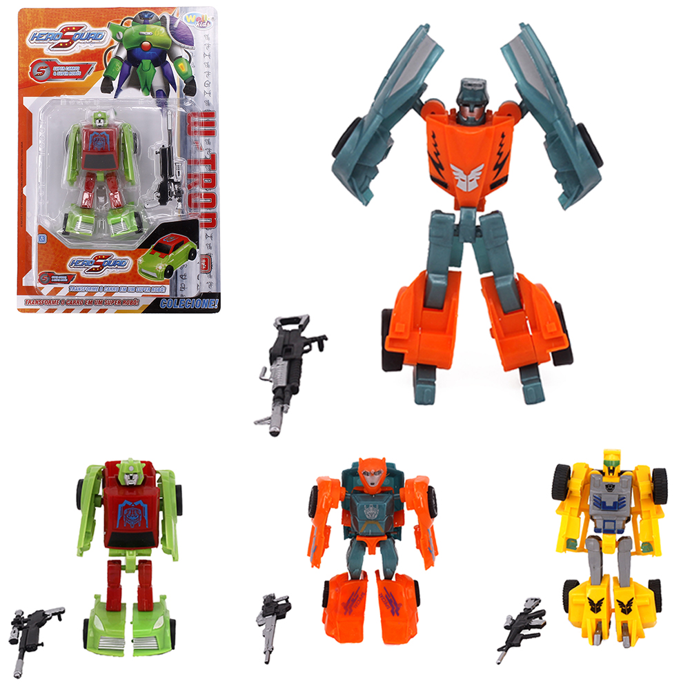 ROBO TRANSFORME CARRO HERO SQUAD W-TRON COM ACESSORIO COLORS WELLKIDS
