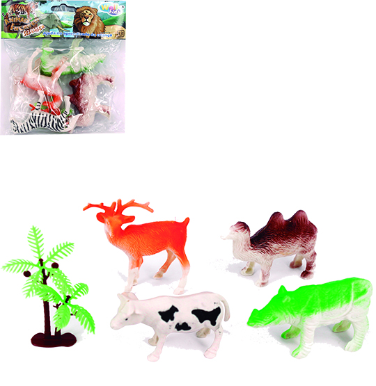 KIT ANIMAL SELVAGEM DE PLASTICO COM 5 PECAS NA SOLAPA