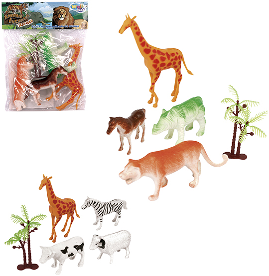KIT ANIMAL SELVAGEM DE PLASTICO COM 5 PECAS MA SOLAPA WELLKIDS