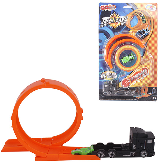 CARRO COM LANCADOR + PISTA LOOPING POSSANTES TRACK CARS KIT COM 7 PECAS NA CARTELA WELLKIDS