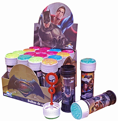 BOLHA DE SABAO BATMAN X SUPERMAN COM JOGO 60ML 11,5X4CM DE Ø