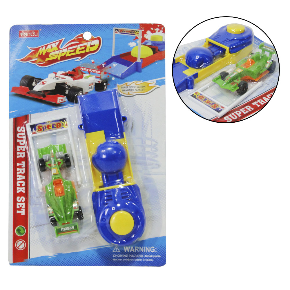 CARRO COM LANCADOR FORMULA 1 MAX SPEED COLORS NA CARTELA