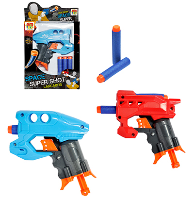 PISTOLA LANCA DARDO ESPUMA COM 3 DARDOS SUPER SHOOT SPACE COLORS NA CAIXA