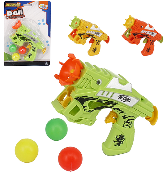 PISTOLA LANCA BOLA COM 3 BOLAS BALL STRICKER COLORS NA CARTELA WELLKIDS