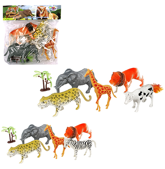 KIT ANIMAL SELVAGEM DE PLASTICO COM 7 PECAS NA SOLAPA WELLKIDS