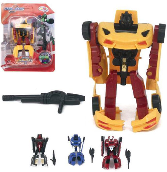 ROBO TRANSFORME CARRO HERO SQUAD SUPER ROBOT COM ACESSORIO COLORS NA CARTELA WELLKIDS