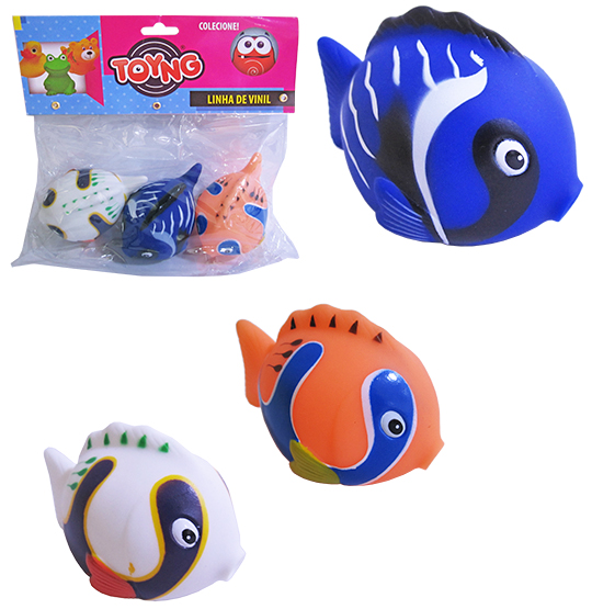 KIT ANIMAL PEIXES DE VINIL BABY COM 3 PECAS SORTIDAS