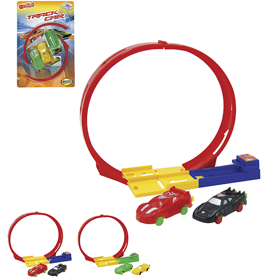 CARRO COM LANCADOR + PISTA LOOPING POSSANTES TRACK KIT COM 6 PECAS NA CARTELA WELLKIDS