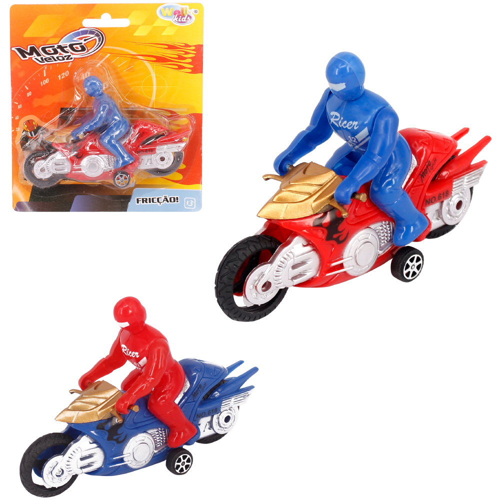 MOTO A FRICCAO RAPID RACING POWER + BONECO COLORS WELLKIDS