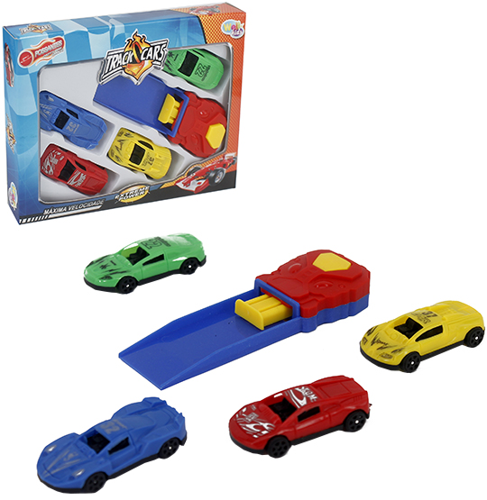 CARRO COM LANCADOR POSSANTES TRACK CARS COLORS KIT COM 5 PECAS NA CAIXA WELLKIDS