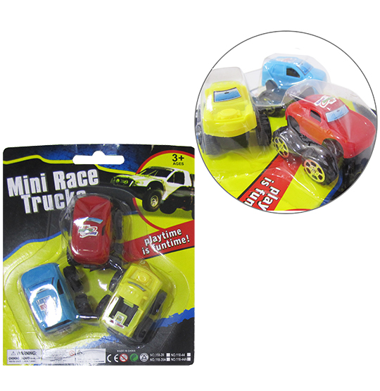 CARRO MINI RACE TRUCKS COM 3 UNIDADES COLORS NA CARTELA