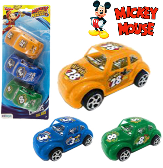 CARRO FUSCA A FRICCAO PULL BACK COM 3 PECAS COLORS ROADSTER NA CARTELA MICKEY