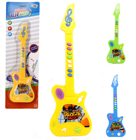 GUITARRA MUSICAL INFANTIL MEU RITMO DIVERTIDO COLORS A PILHA NA CARTELA WELLKIDS