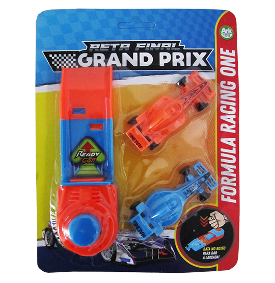 CARRO COM LANCADOR F1 RETA FINAL GRAND PRIX KIT COM 3 PECAS COLORS NA CARTELA