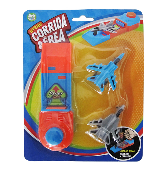 AVIAO / CARRO COM LANCADOR LETS FLY CORRIDA AEREA KIT COM 3 PECAS COLORS NA CARTELA