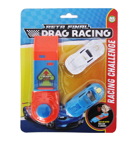 CARRO COM LANCADOR RETA FINAL DRAG RACING KIT COM 3 PECAS COLORS NA CARTELA