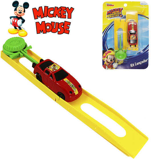 CARRO COM LANCADOR KIT COM 3 PECAS COLORS MICKEY NA CARTELA