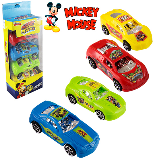 CARRO A FRICCAO KIT COM 4 PECAS COLORS MICKEY NA CAIXA
