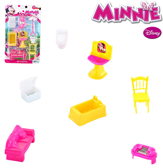 KIT MOVEIS INFANTIL COM 8 PECAS MINNIE NA CARTELA