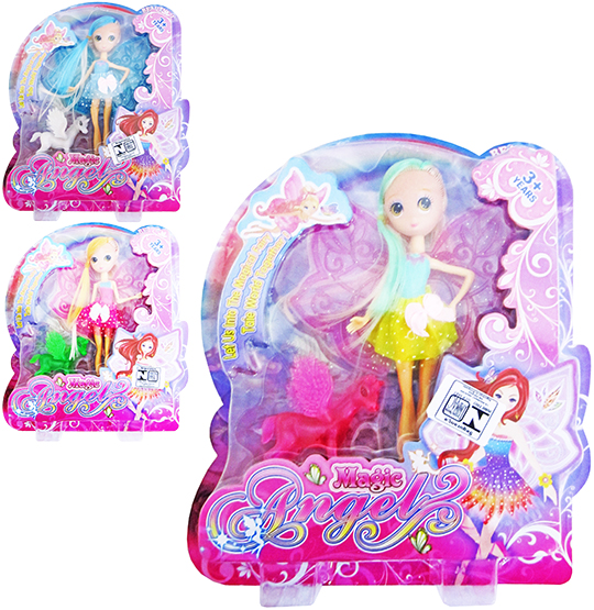 BONECA FADA COM UNICORNIO MAGIC ANGEL COLORS NA CARTELA
