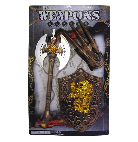 KIT MEDIEVAL COM MACHADO + ESCUDO E GARRA WEAPON NA CARTELA