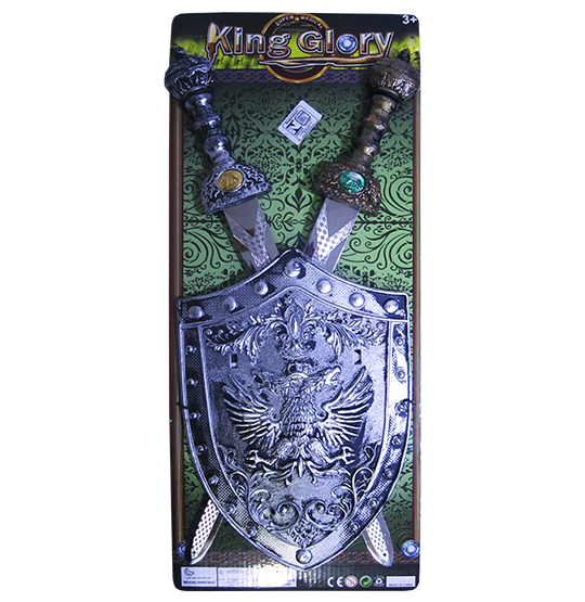 KIT MEDIEVAL COM 2 ESPADAS + ESCUDO KING GLORY NA CARTELA