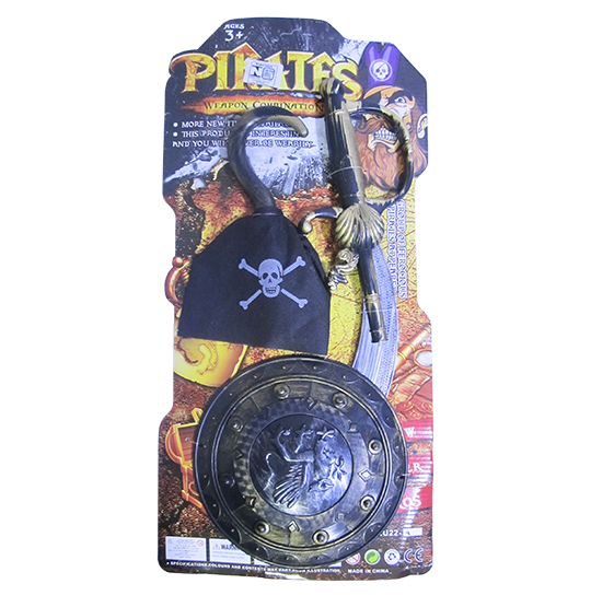 KIT PIRATA COM ESPADA + ESCUDO E GANCHO PIRATES NA CARTELA