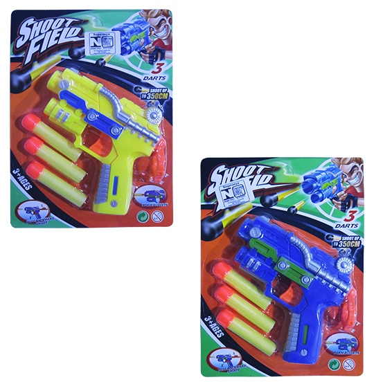 PISTOLA LANCA DARDO ESPUMA COM 3 DARDOS SHOOT FIELD COLORS NA CARTELA
