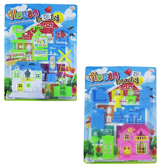 KIT MOVEIS INFANTIL COM CASINHA E ACESSORIOS COLORS HOUSE BEAUTY 10 PECAS NA CARTELA