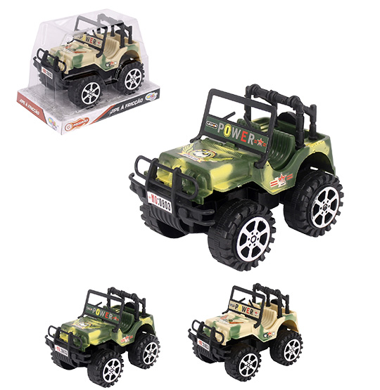 CARRO JEEP A FRICCAO EXERCITO POWER POSSANTES COLORS WELLKIDS