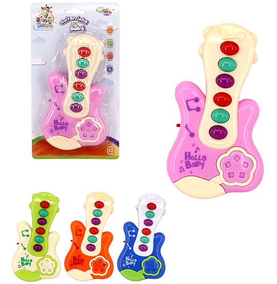 GUITARRA MUSICAL INFANTIL BABY COLORS A PILHA NA CARTELA