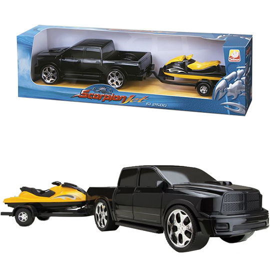 CARRO PICK-UP SCORPION COM JET SKI RODA LIVRE COLORS NA CAIXA