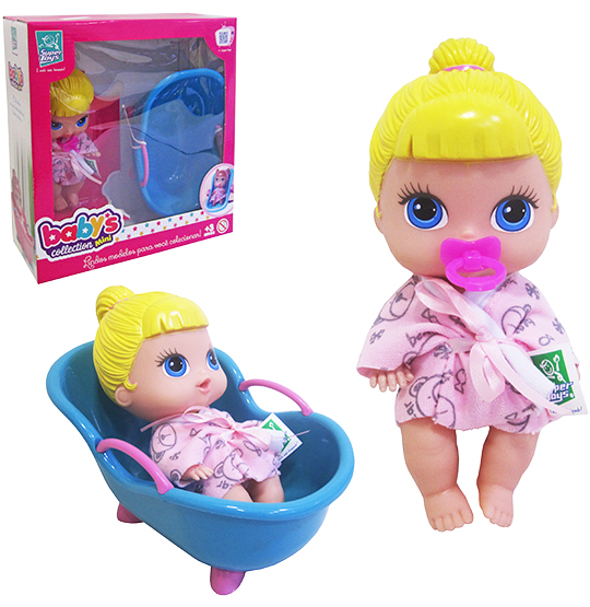 BONECA BABYS COLLECTION MINI COM BANHEIRINHA COLORS NA CAIXA