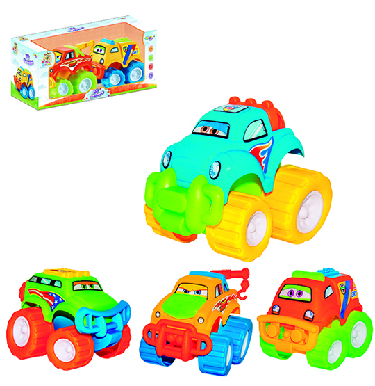 CARRO BABY CAR COLORS BRINCA BEBE KIT COM 2 PECAS SORTIDOS NA CAIXA WELLKIDS