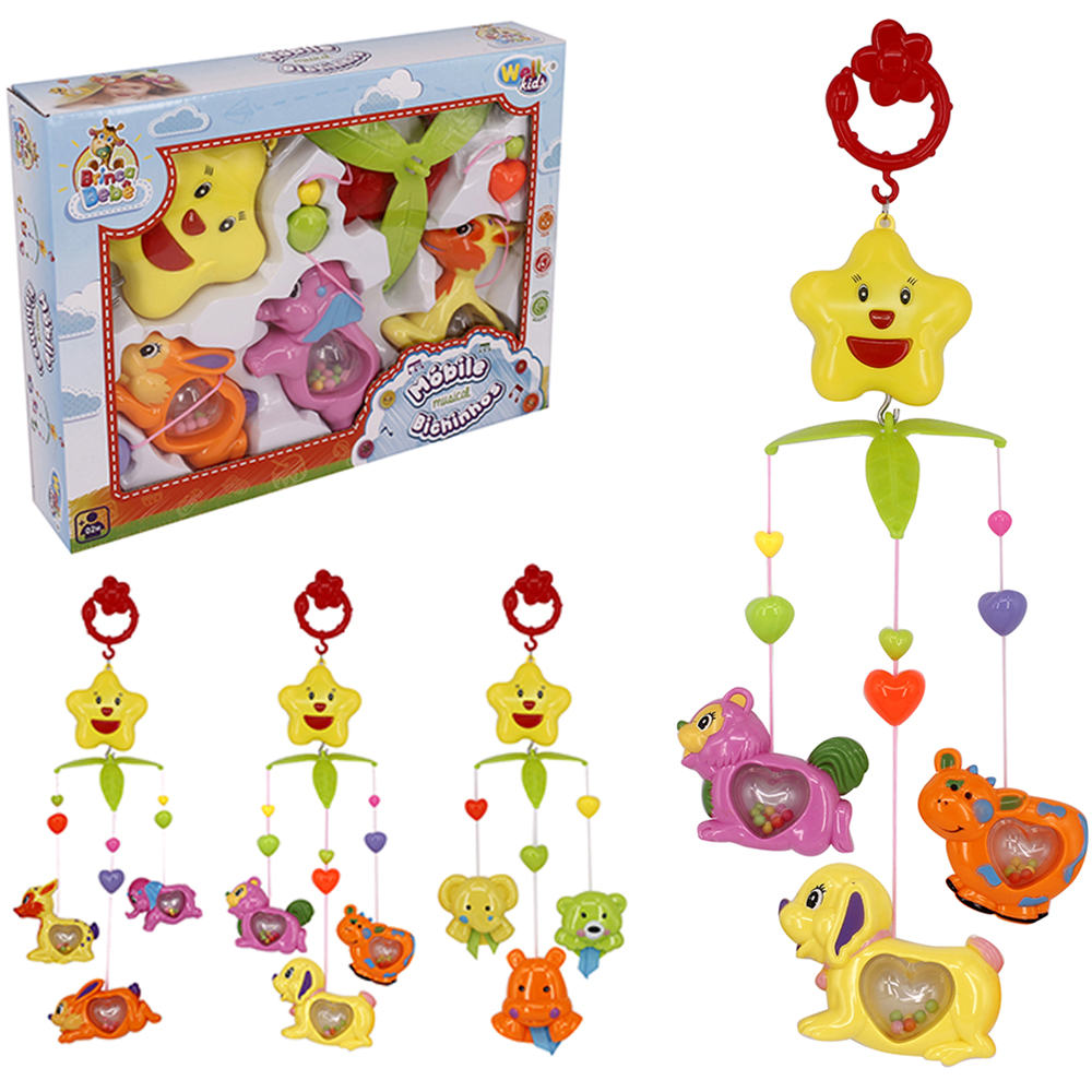 MOBILE MUSICAL INFANTIL BICHINHOS BRINCA BEBE COLORS NA CAIXA WELLKIDS