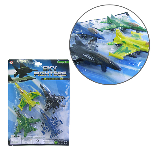 AVIAO CACA COLORS RODA LIVRE SKY FIGHTERS KIT COM 4 PECAS NA CARTELA