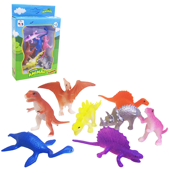 KIT ANIMAL DINOSSAURO DE PVC COM 8 PECAS COLORS NA CAIXA