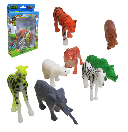 KIT ANIMAL SELVAGEM DE PVC WORLD COM 8 PECAS COLORS NA CAIXA