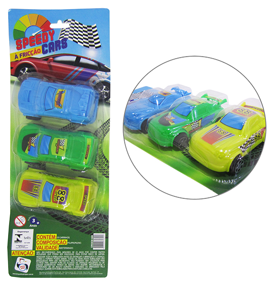 CARRO A FRICCAO SPEEDY CARS COLORS KIT COM 3 PECAS NA CARTELA
