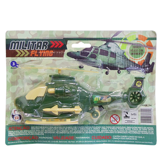 HELICOPTERO A CORDA MILITAR FLYING D17 NA CARTELA