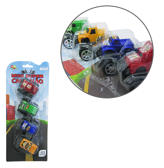 CARRO PICK-UP A FRICCAO MINI SUPER CAMINHAO COLORS KIT COM 4 PECAS NA CARTELA