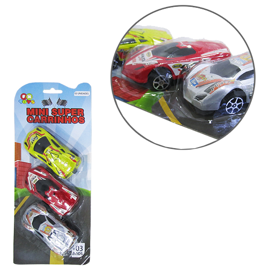 CARRO A FRICCAO MINI SUPER CARRINHOS COLORS KIT COM 3 PECAS NA CARTELA