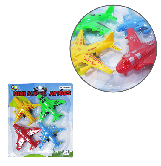 AVIAO A FRICCAO MINI SUPER AVIOES COLORS KIT COM 4 PECAS NA CARTELA